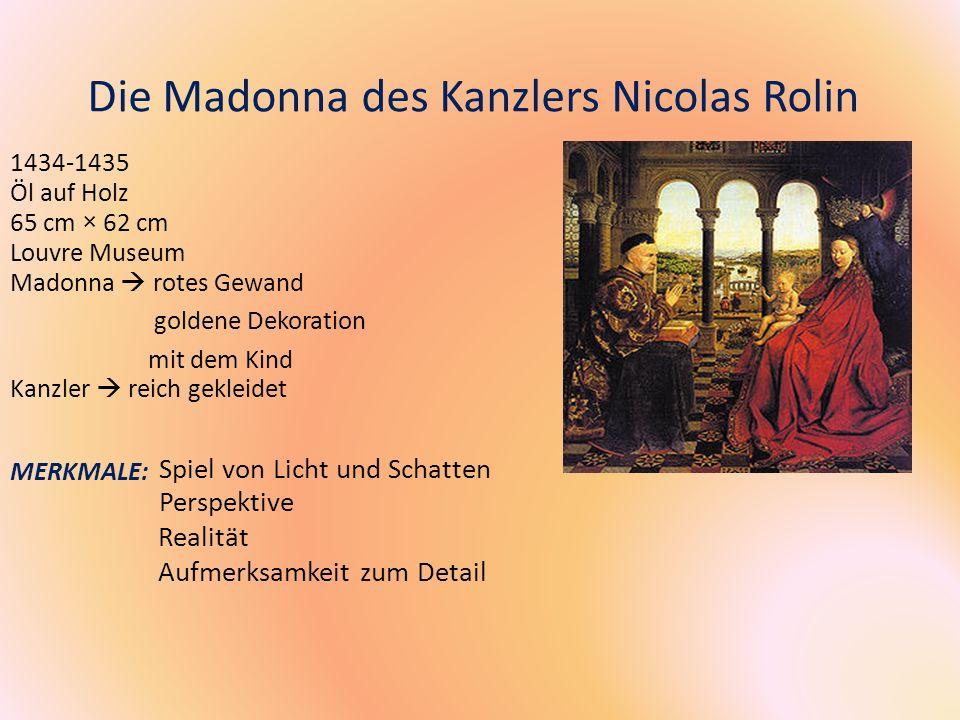 Die Madonna des Kanzlers Nicolas Rolin 1434-1435 Öl auf Holz 65 cm × 62 cm Louvre Museum Madonna rotes Gewand goldene Dekoration mit dem Kind Kanzler