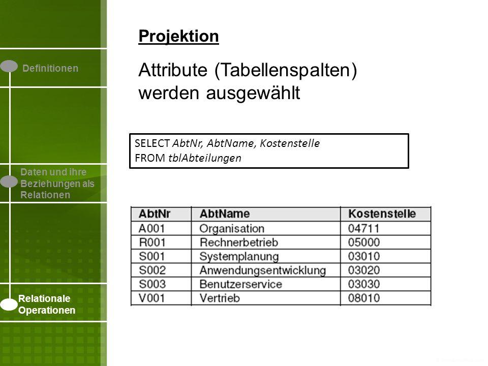 Definitionen Daten und ihre Beziehungen als Relationen Relationale Operationen Projektion Attribute (Tabellenspalten) werden ausgewählt SELECT AbtNr,