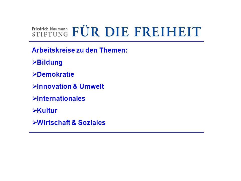 Arbeitskreise zu den Themen: Bildung Demokratie Innovation & Umwelt Internationales Kultur Wirtschaft & Soziales Friedrich-Naumann-Stiftung