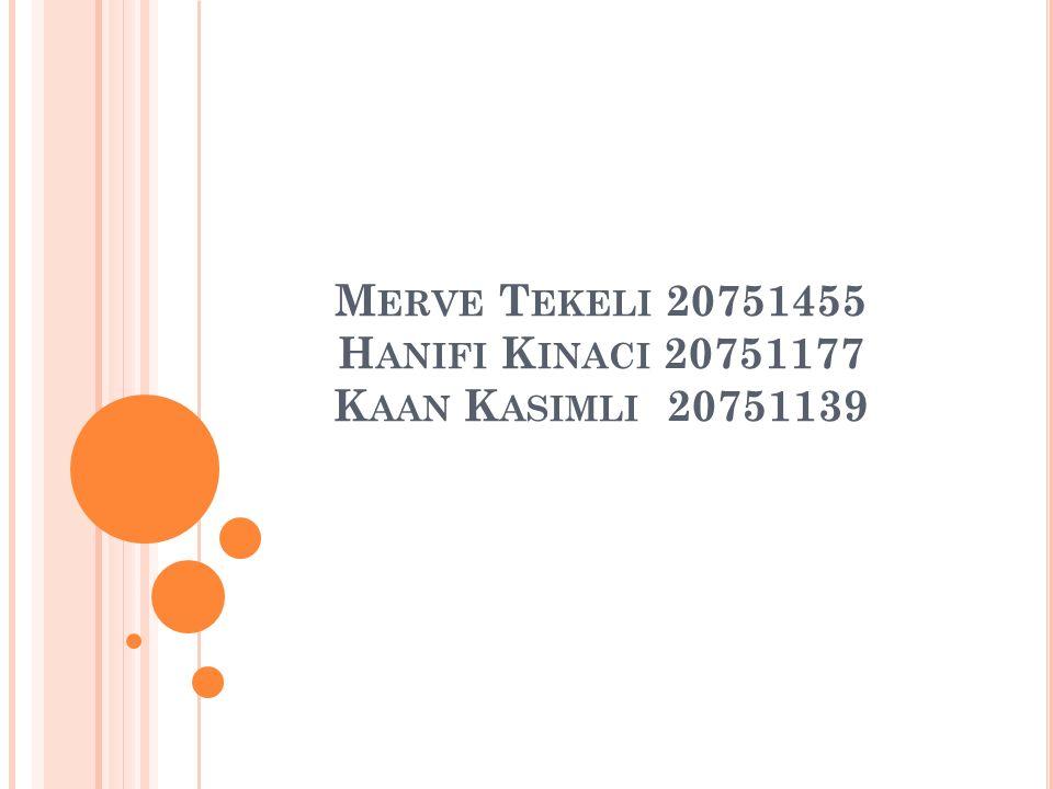 M ERVE T EKELI 20751455 H ANIFI K INACI 20751177 K AAN K ASIMLI 20751139