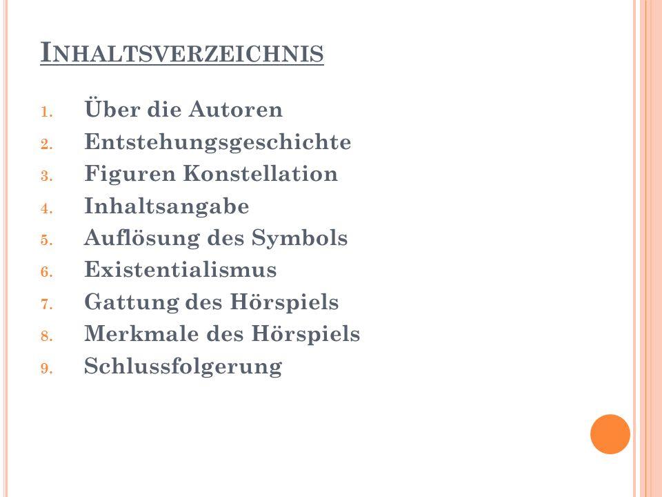 I NHALTSVERZEICHNIS 1.Über die Autoren 2. Entstehungsgeschichte 3.