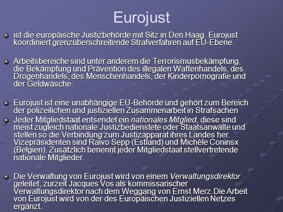 Eurojust ist die europäische Justizbehörde mit Sitz in Den Haag. Eurojust koordiniert grenzüberschreitende Strafverfahren auf EU-Ebene. Arbeitsbereich