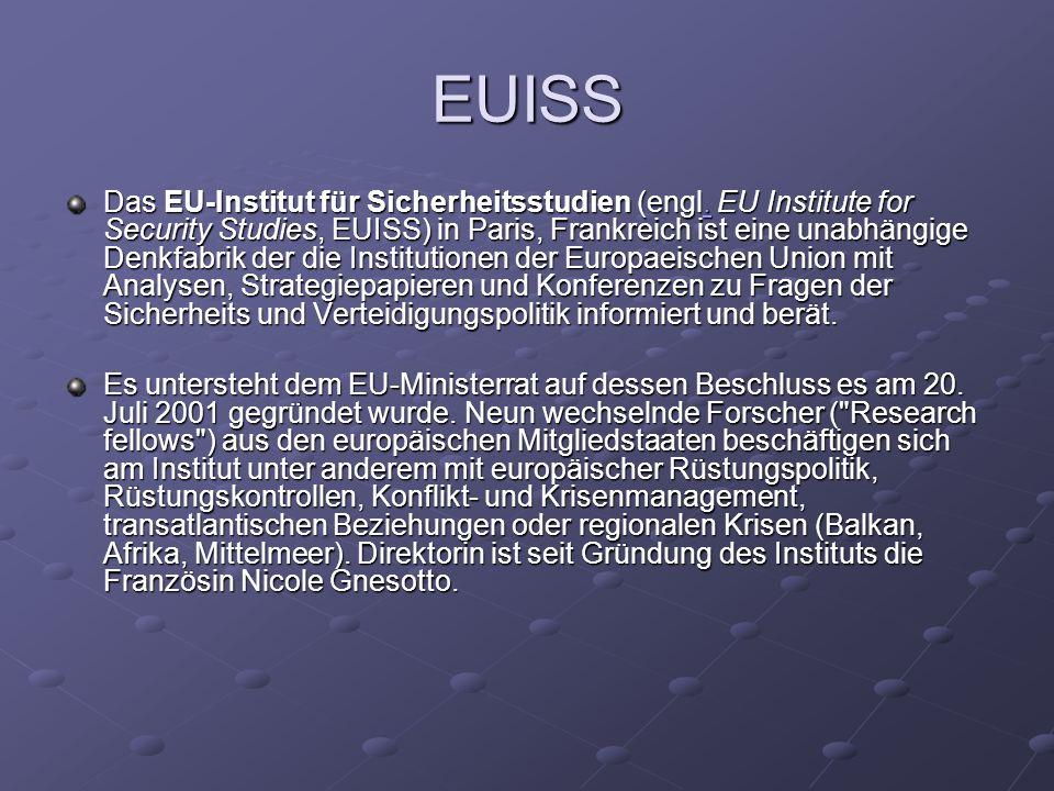 EUISS Das EU-Institut für Sicherheitsstudien (engl. EU Institute for Security Studies, EUISS) in Paris, Frankreich ist eine unabhängige Denkfabrik der