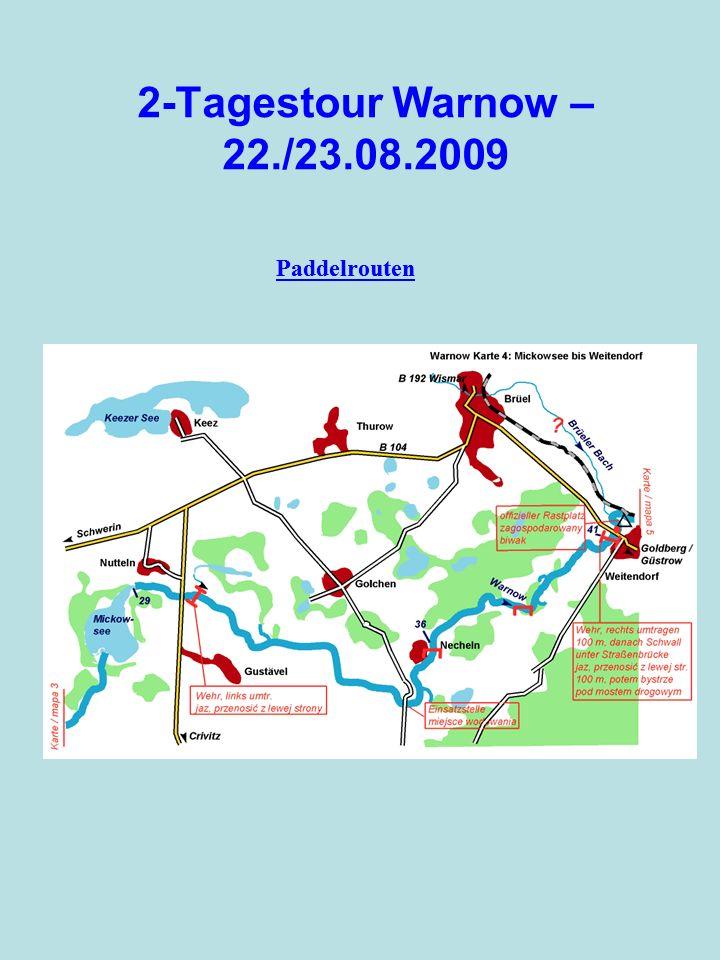 2-Tagestour Warnow – 22./23.08.2009 Paddelrouten