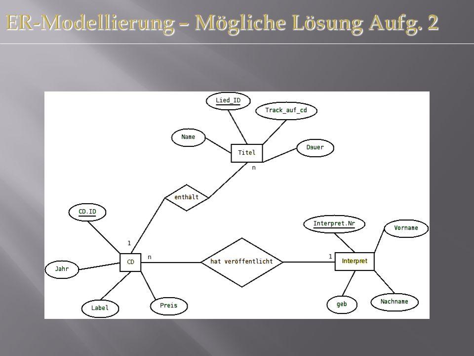 ER-Modellierung – Mögliche Lösung Aufg. 2