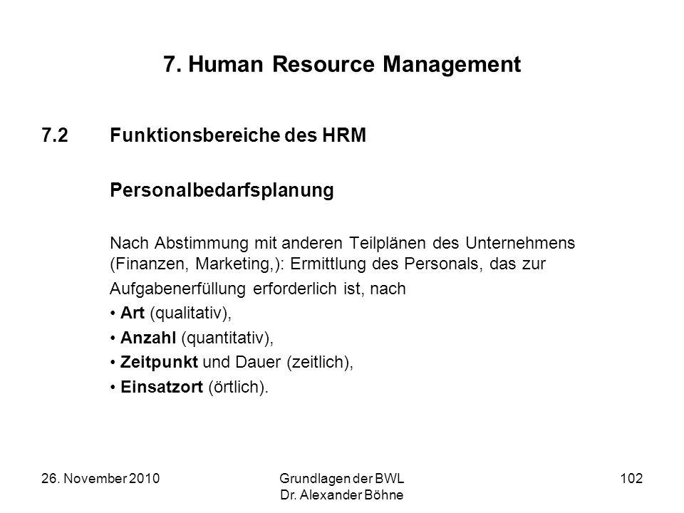 26. November 2010Grundlagen der BWL Dr. Alexander Böhne 102 7. Human Resource Management 7.2Funktionsbereiche des HRM Personalbedarfsplanung Nach Abst