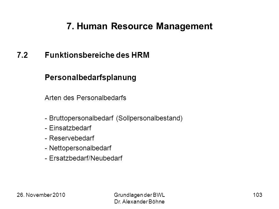 26. November 2010Grundlagen der BWL Dr. Alexander Böhne 103 7. Human Resource Management 7.2Funktionsbereiche des HRM Personalbedarfsplanung Arten des