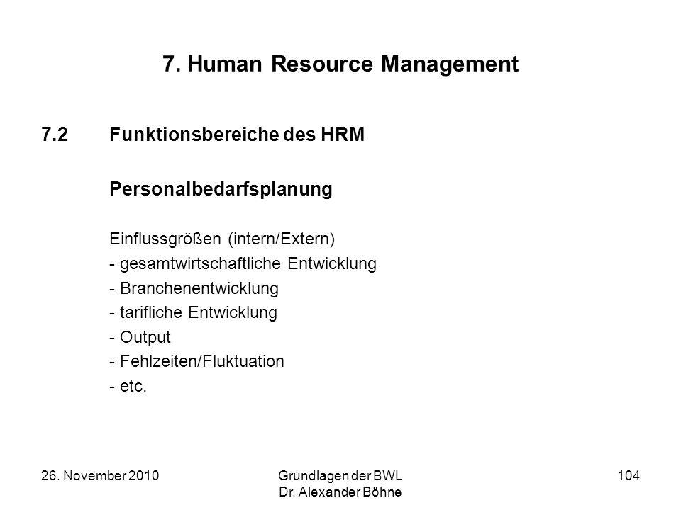 26. November 2010Grundlagen der BWL Dr. Alexander Böhne 104 7. Human Resource Management 7.2Funktionsbereiche des HRM Personalbedarfsplanung Einflussg