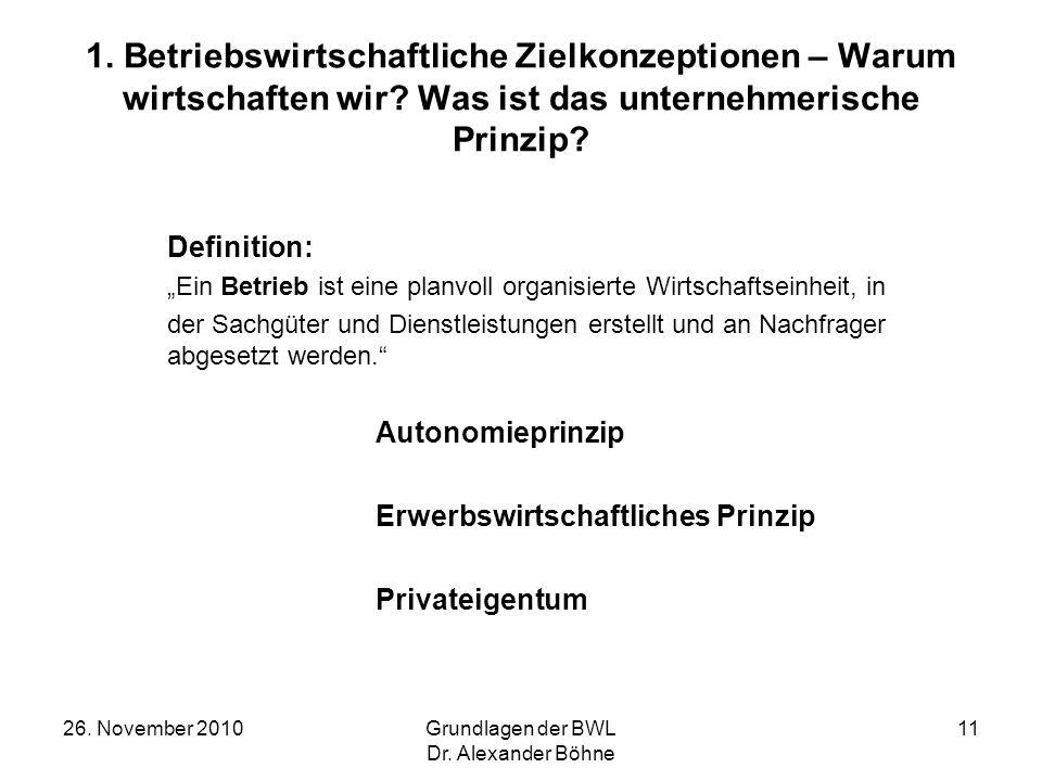 26. November 2010Grundlagen der BWL Dr. Alexander Böhne 11 1. Betriebswirtschaftliche Zielkonzeptionen – Warum wirtschaften wir? Was ist das unternehm