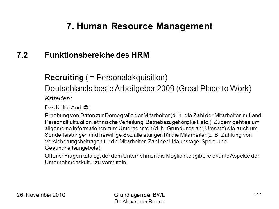 26. November 2010Grundlagen der BWL Dr. Alexander Böhne 111 7. Human Resource Management 7.2Funktionsbereiche des HRM Recruiting ( = Personalakquisiti