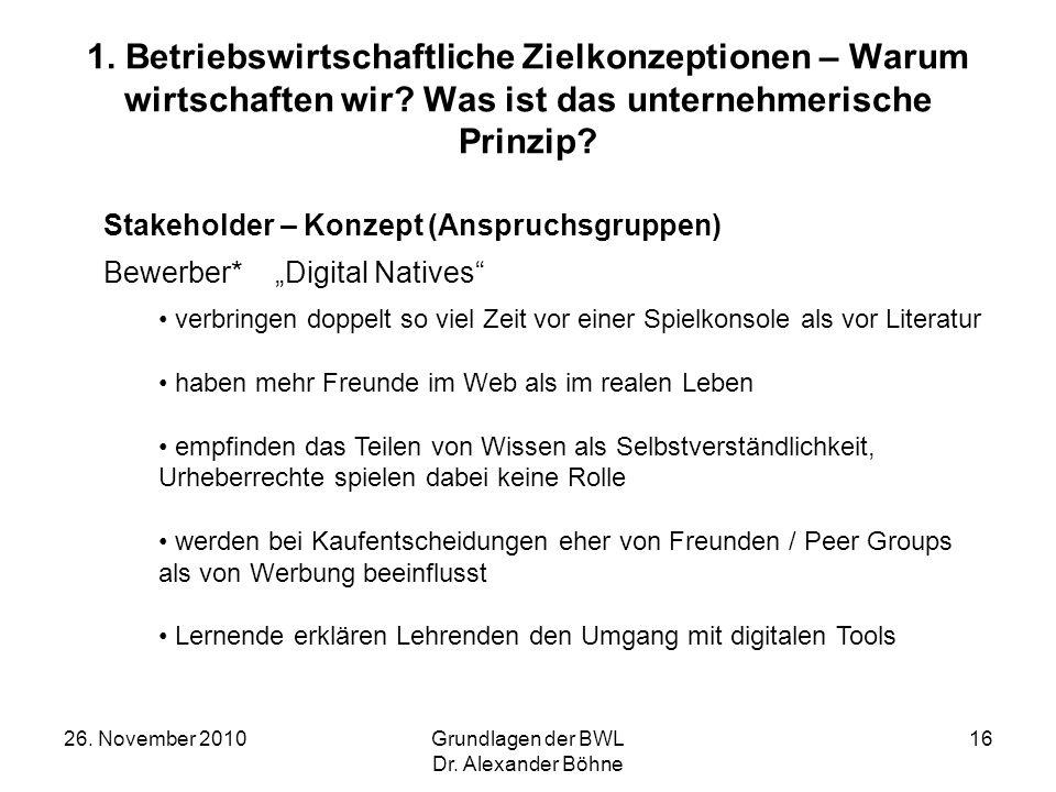 26. November 2010Grundlagen der BWL Dr. Alexander Böhne 16 1. Betriebswirtschaftliche Zielkonzeptionen – Warum wirtschaften wir? Was ist das unternehm