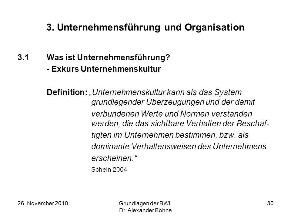26. November 2010Grundlagen der BWL Dr. Alexander Böhne 30 3. Unternehmensführung und Organisation 3.1Was ist Unternehmensführung? - Exkurs Unternehme