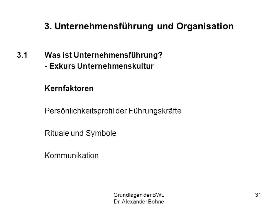 Grundlagen der BWL Dr. Alexander Böhne 31 3. Unternehmensführung und Organisation 3.1Was ist Unternehmensführung? - Exkurs Unternehmenskultur Kernfakt