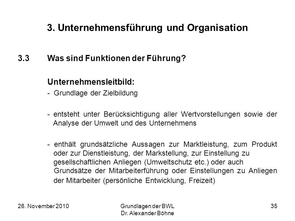 26. November 2010Grundlagen der BWL Dr. Alexander Böhne 35 3. Unternehmensführung und Organisation 3.3Was sind Funktionen der Führung? Unternehmenslei
