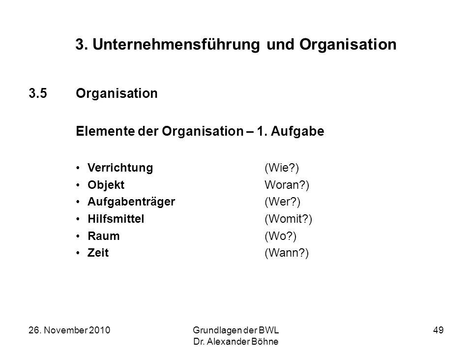 26. November 2010Grundlagen der BWL Dr. Alexander Böhne 49 3. Unternehmensführung und Organisation 3.5Organisation Elemente der Organisation – 1. Aufg