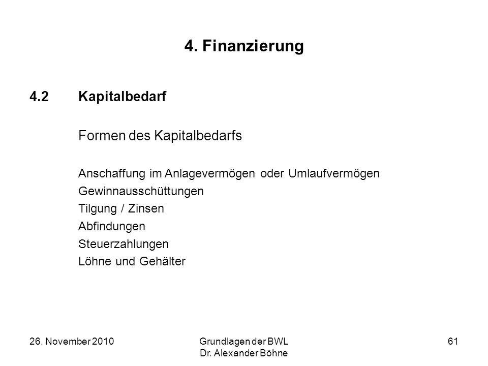 26. November 2010Grundlagen der BWL Dr. Alexander Böhne 61 4. Finanzierung 4.2Kapitalbedarf Formen des Kapitalbedarfs Anschaffung im Anlagevermögen od