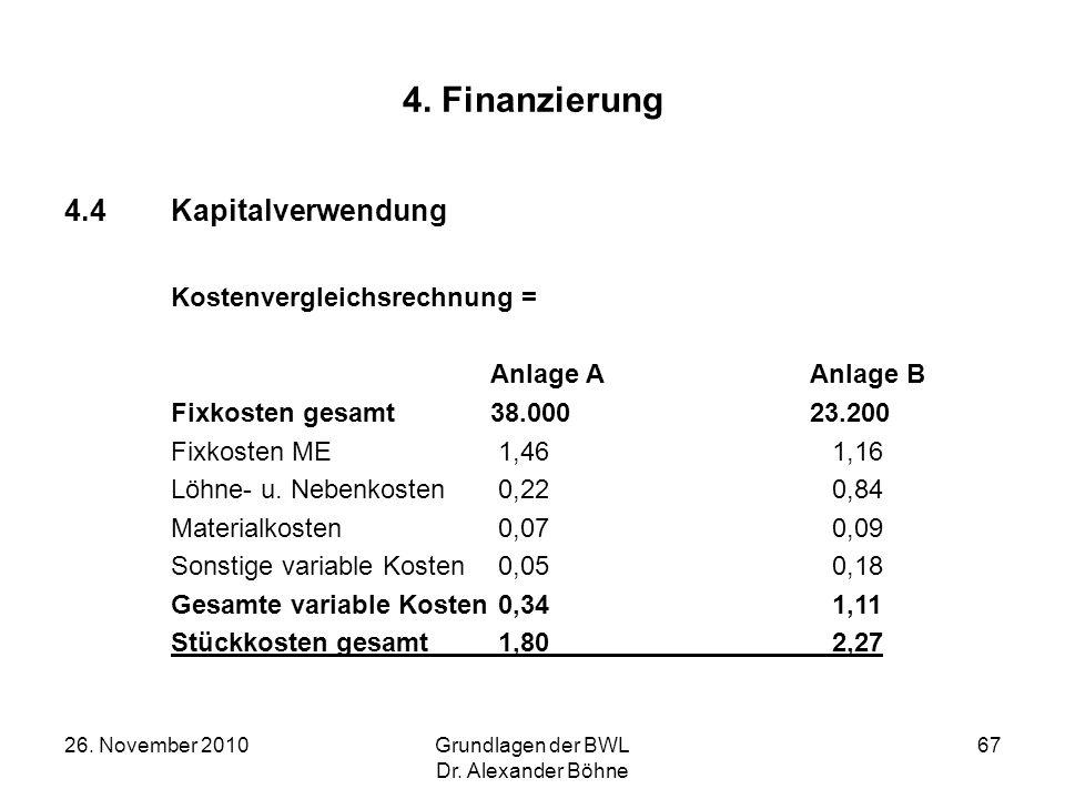 26. November 2010Grundlagen der BWL Dr. Alexander Böhne 67 4. Finanzierung 4.4Kapitalverwendung Kostenvergleichsrechnung = Anlage A Anlage B Fixkosten