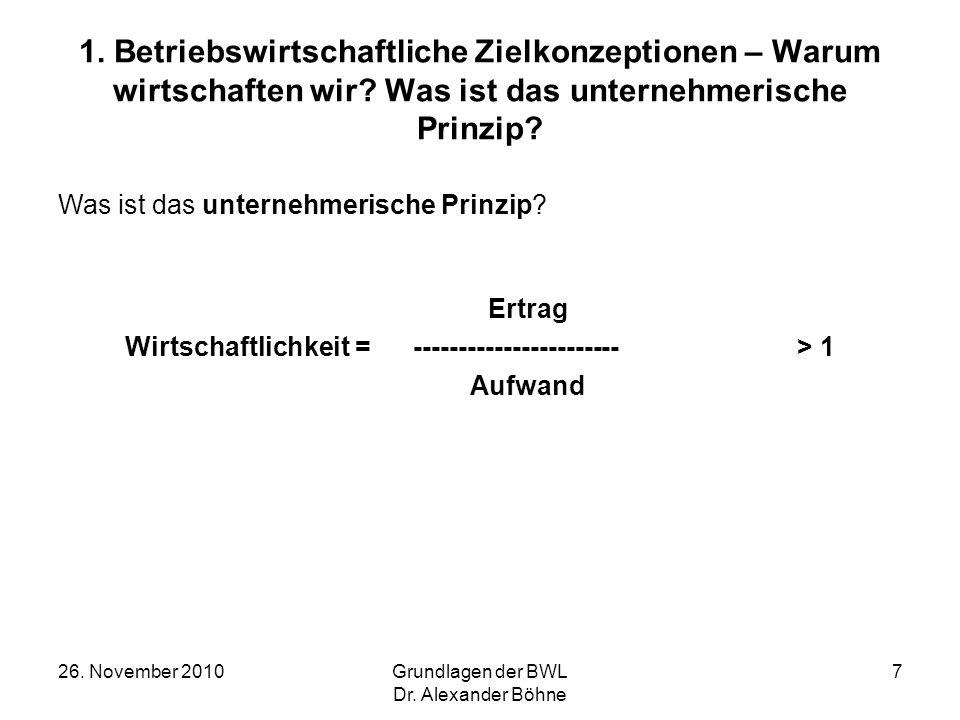 26. November 2010Grundlagen der BWL Dr. Alexander Böhne 7 1. Betriebswirtschaftliche Zielkonzeptionen – Warum wirtschaften wir? Was ist das unternehme