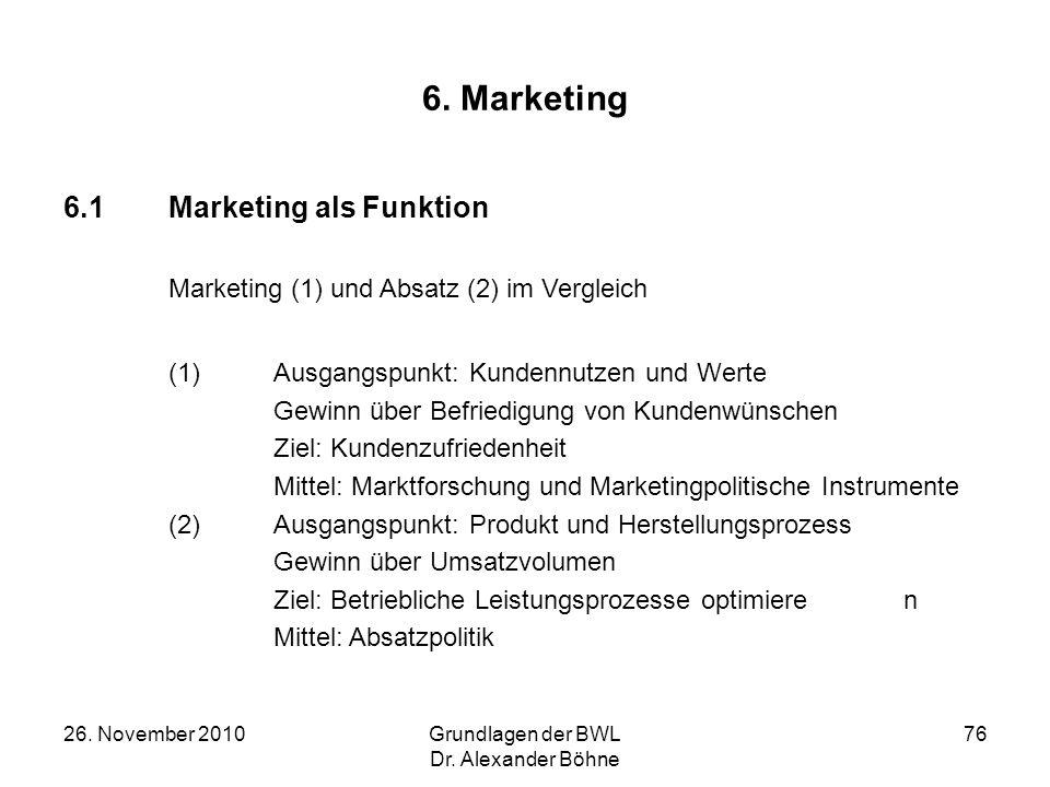 26. November 2010Grundlagen der BWL Dr. Alexander Böhne 76 6. Marketing 6.1Marketing als Funktion Marketing (1) und Absatz (2) im Vergleich (1)Ausgang