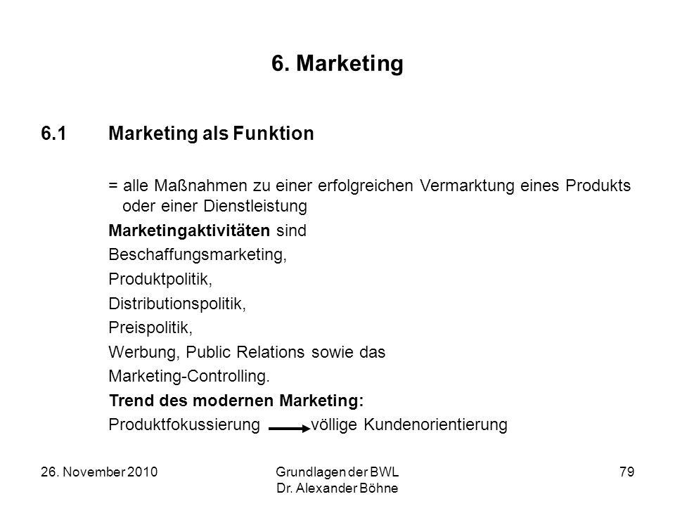 26. November 2010Grundlagen der BWL Dr. Alexander Böhne 79 6. Marketing 6.1Marketing als Funktion = alle Maßnahmen zu einer erfolgreichen Vermarktung
