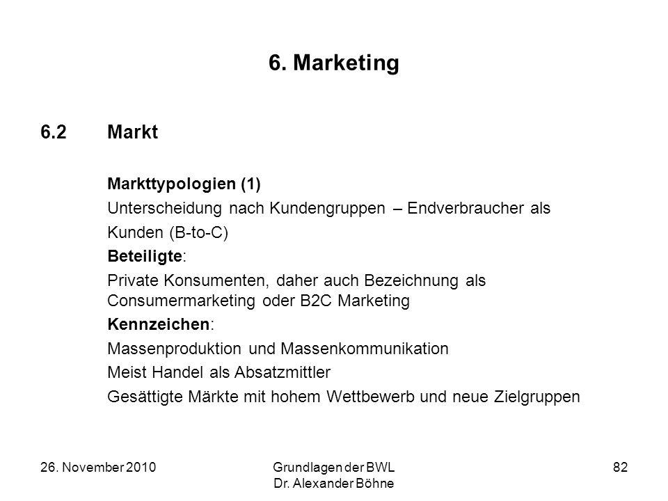 26. November 2010Grundlagen der BWL Dr. Alexander Böhne 82 6. Marketing 6.2Markt Markttypologien (1) Unterscheidung nach Kundengruppen – Endverbrauche