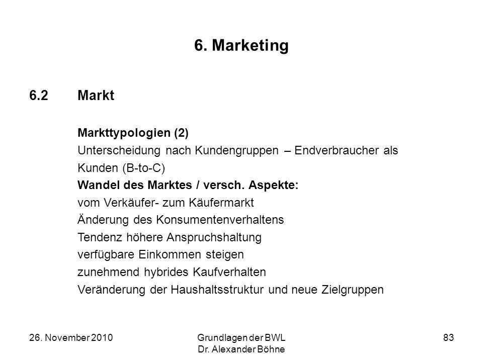 26. November 2010Grundlagen der BWL Dr. Alexander Böhne 83 6. Marketing 6.2Markt Markttypologien (2) Unterscheidung nach Kundengruppen – Endverbrauche