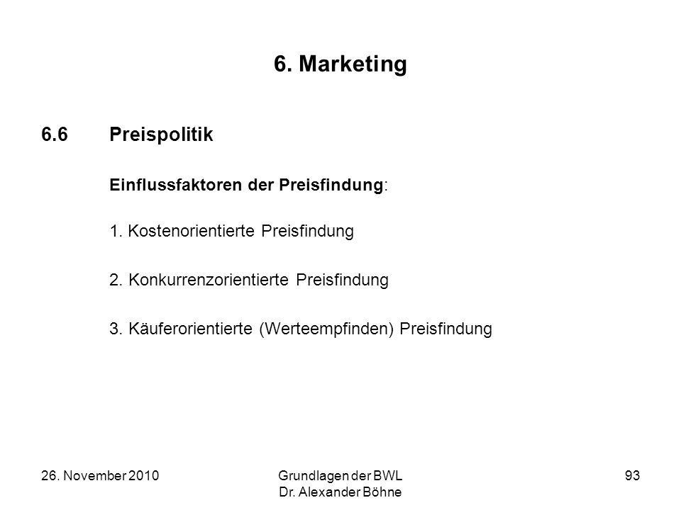 26. November 2010Grundlagen der BWL Dr. Alexander Böhne 93 6. Marketing 6.6Preispolitik Einflussfaktoren der Preisfindung: 1. Kostenorientierte Preisf