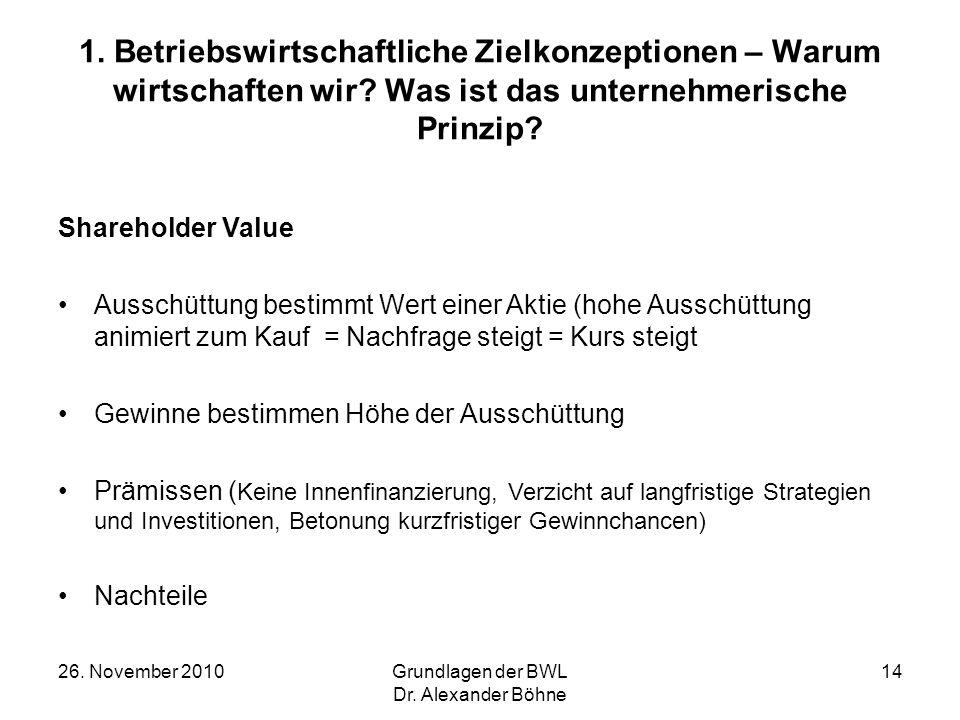 26. November 2010Grundlagen der BWL Dr. Alexander Böhne 14 1. Betriebswirtschaftliche Zielkonzeptionen – Warum wirtschaften wir? Was ist das unternehm