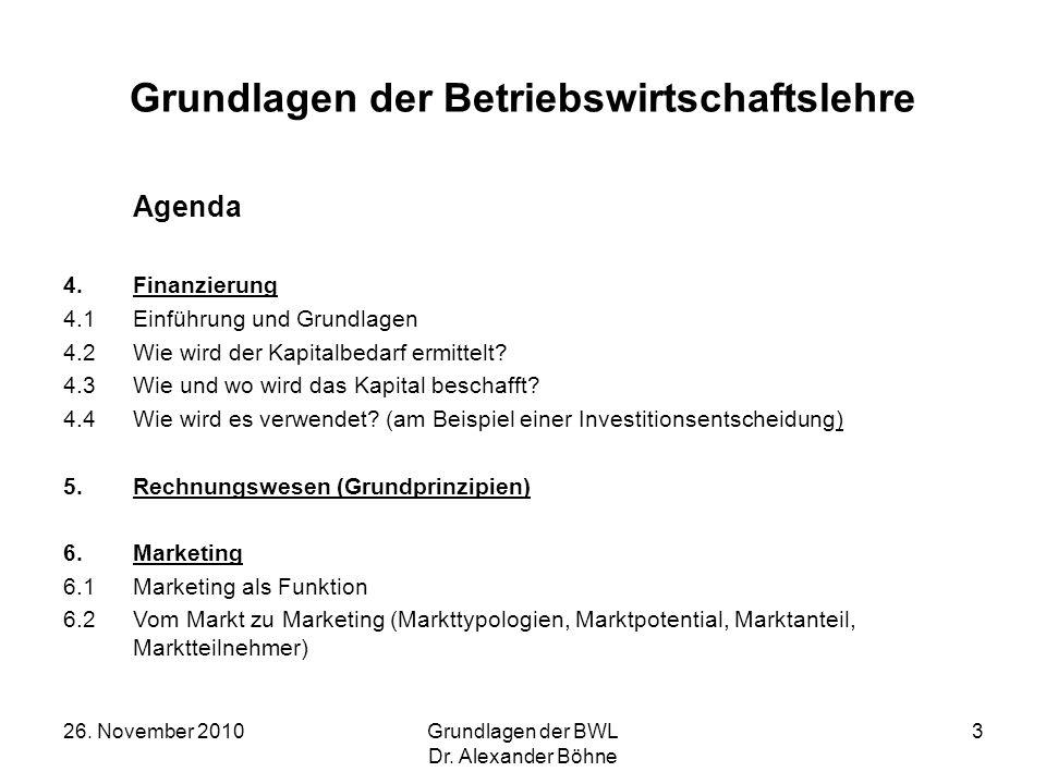 26. November 2010Grundlagen der BWL Dr. Alexander Böhne 3 Grundlagen der Betriebswirtschaftslehre Agenda 4.Finanzierung 4.1Einführung und Grundlagen 4