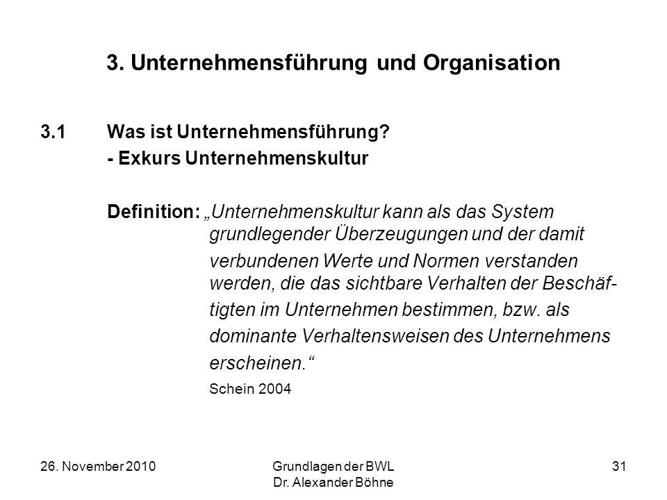 26. November 2010Grundlagen der BWL Dr. Alexander Böhne 31 3. Unternehmensführung und Organisation 3.1Was ist Unternehmensführung? - Exkurs Unternehme