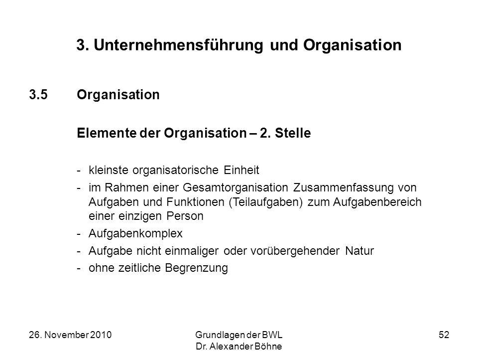 26. November 2010Grundlagen der BWL Dr. Alexander Böhne 52 3. Unternehmensführung und Organisation 3.5Organisation Elemente der Organisation – 2. Stel