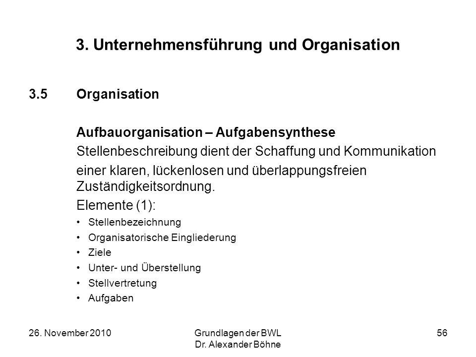 26. November 2010Grundlagen der BWL Dr. Alexander Böhne 56 3. Unternehmensführung und Organisation 3.5Organisation Aufbauorganisation – Aufgabensynthe