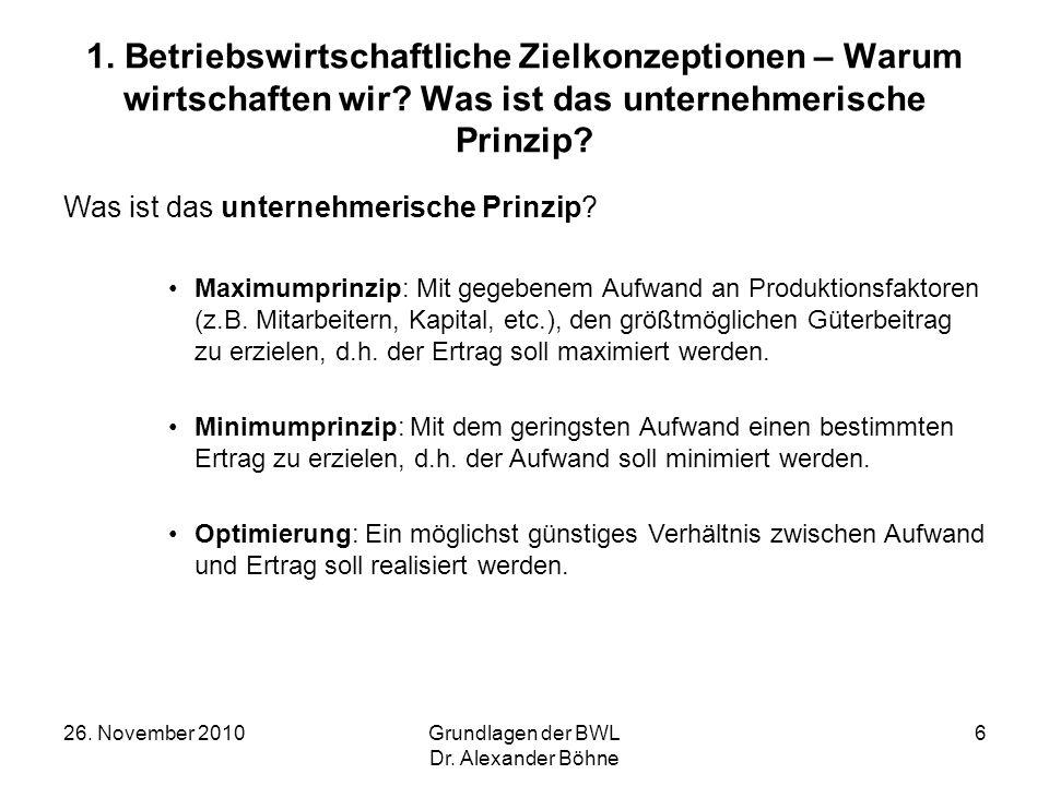 26. November 2010Grundlagen der BWL Dr. Alexander Böhne 6 1. Betriebswirtschaftliche Zielkonzeptionen – Warum wirtschaften wir? Was ist das unternehme