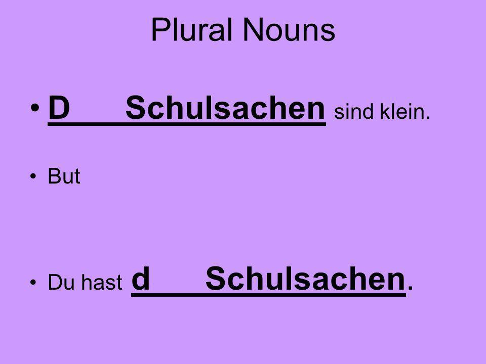 Plural Nouns D Schulsachen sind klein. But Du hast d Schulsachen.