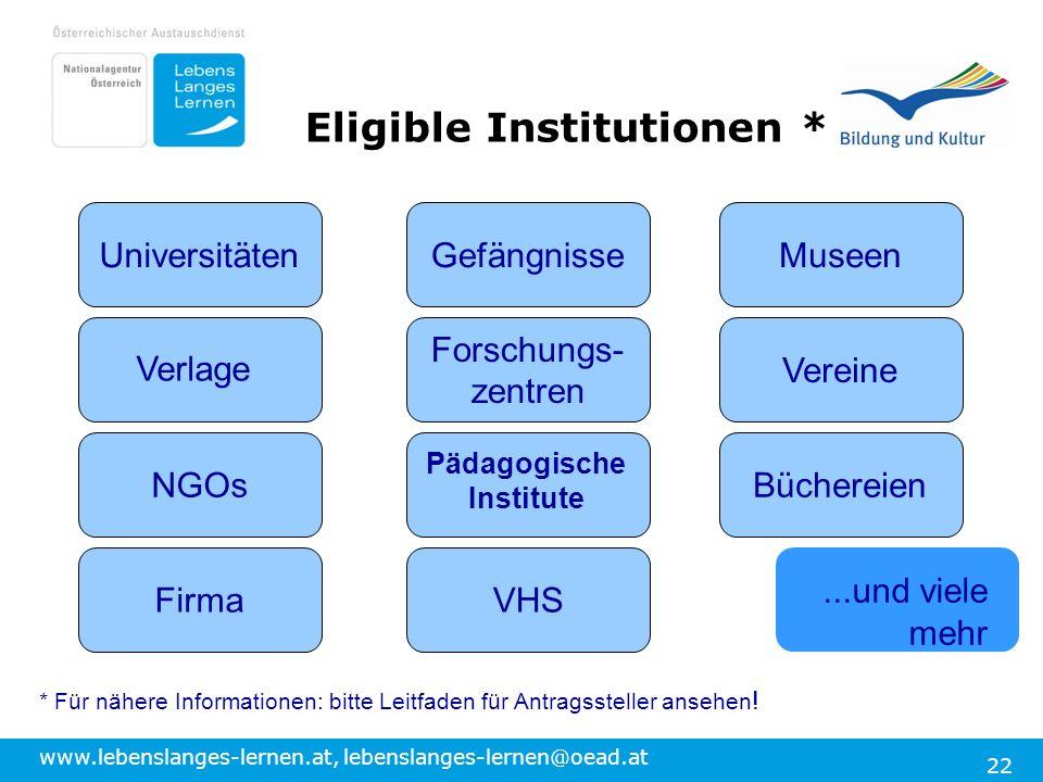 www.lebenslanges-lernen.at, lebenslanges-lernen@oead.at 22 Eligible Institutionen * UniversitätenMuseenGefängnisse Vereine BüchereienNGOs Verlage VHSF
