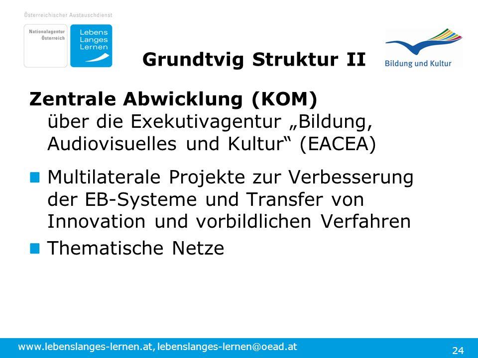 www.lebenslanges-lernen.at, lebenslanges-lernen@oead.at 24 Grundtvig Struktur II Zentrale Abwicklung (KOM) über die Exekutivagentur Bildung, Audiovisu