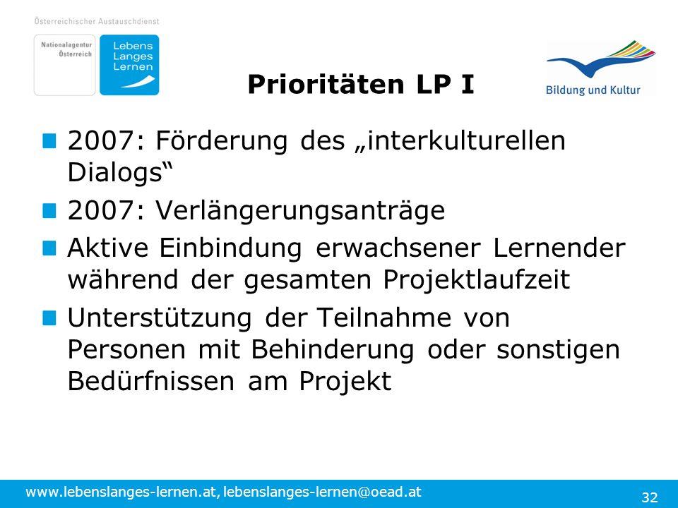 www.lebenslanges-lernen.at, lebenslanges-lernen@oead.at 32 Prioritäten LP I 2007: Förderung des interkulturellen Dialogs 2007: Verlängerungsanträge Ak