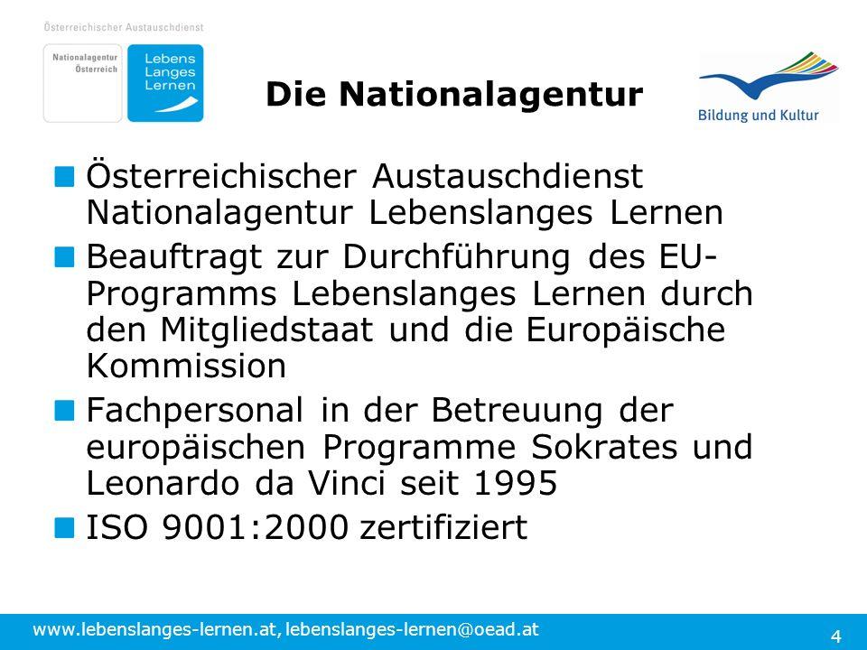 www.lebenslanges-lernen.at, lebenslanges-lernen@oead.at 4 Österreichischer Austauschdienst Nationalagentur Lebenslanges Lernen Beauftragt zur Durchfüh