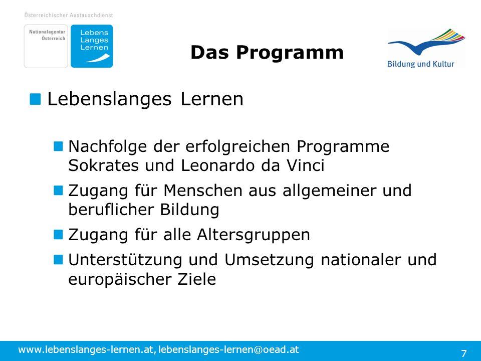 www.lebenslanges-lernen.at, lebenslanges-lernen@oead.at 7 Das Programm Lebenslanges Lernen Nachfolge der erfolgreichen Programme Sokrates und Leonardo