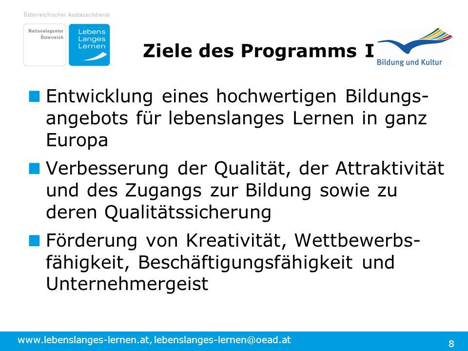 www.lebenslanges-lernen.at, lebenslanges-lernen@oead.at 8 Ziele des Programms I Entwicklung eines hochwertigen Bildungs- angebots für lebenslanges Lernen in ganz Europa Verbesserung der Qualität, der Attraktivität und des Zugangs zur Bildung sowie zu deren Qualitätssicherung Förderung von Kreativität, Wettbewerbs- fähigkeit, Beschäftigungsfähigkeit und Unternehmergeist