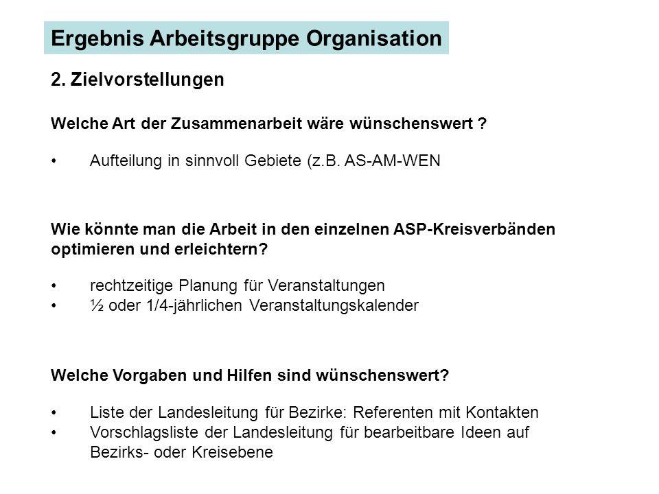 Ergebnis Arbeitsgruppe Organisation 2.