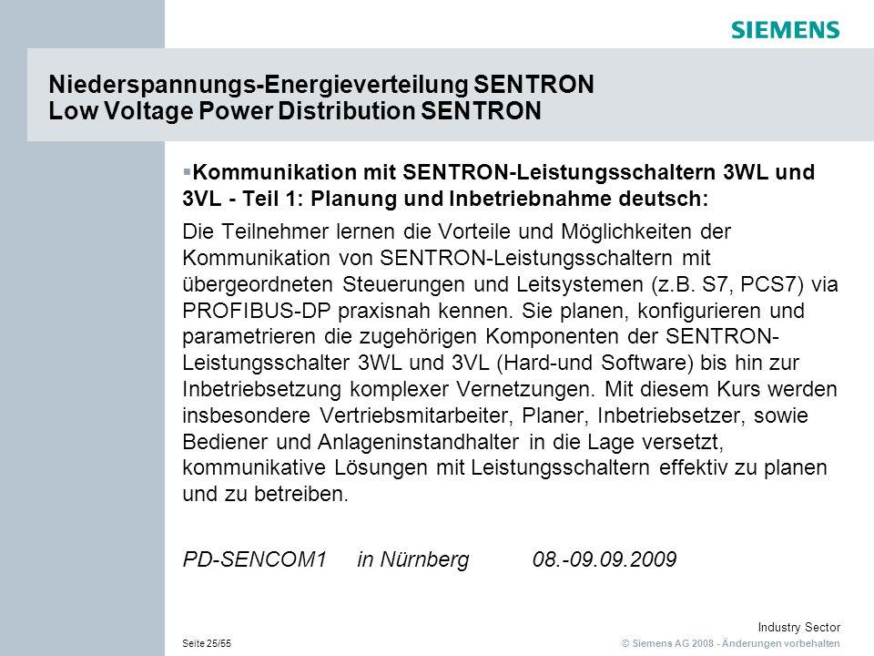 © Siemens AG 2008 - Änderungen vorbehalten Industry Sector Seite 25/55 Kommunikation mit SENTRON-Leistungsschaltern 3WL und 3VL - Teil 1: Planung und Inbetriebnahme deutsch: Die Teilnehmer lernen die Vorteile und Möglichkeiten der Kommunikation von SENTRON-Leistungsschaltern mit übergeordneten Steuerungen und Leitsystemen (z.B.