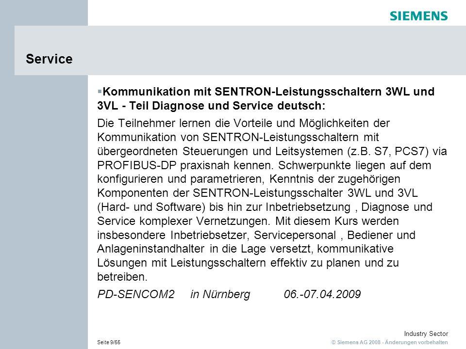 © Siemens AG 2008 - Änderungen vorbehalten Industry Sector Seite 9/55 Service Kommunikation mit SENTRON-Leistungsschaltern 3WL und 3VL - Teil Diagnose und Service deutsch: Die Teilnehmer lernen die Vorteile und Möglichkeiten der Kommunikation von SENTRON-Leistungsschaltern mit übergeordneten Steuerungen und Leitsystemen (z.B.