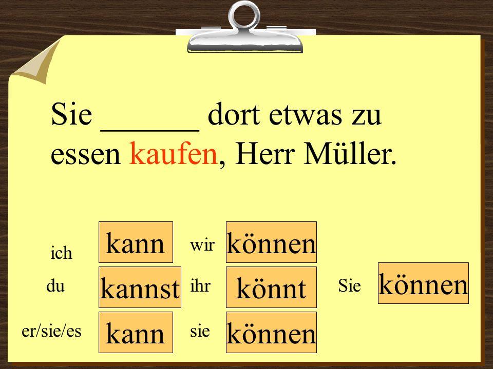 kann können wir du er/sie/es ich ihr sie können Sie Sie ______ dort etwas zu essen kaufen, Herr Müller. könntkannst
