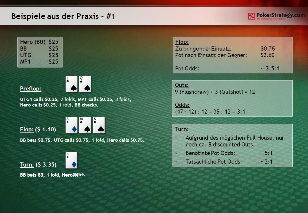 Beispiele aus der Praxis - #1 Hero (BU)$25 BB$25 UTG $25 MP1$25 Preflop: UTG1 calls $0.25, 2 folds, MP1 calls $0.25, 3 folds, Hero calls $0.25, 1 fold