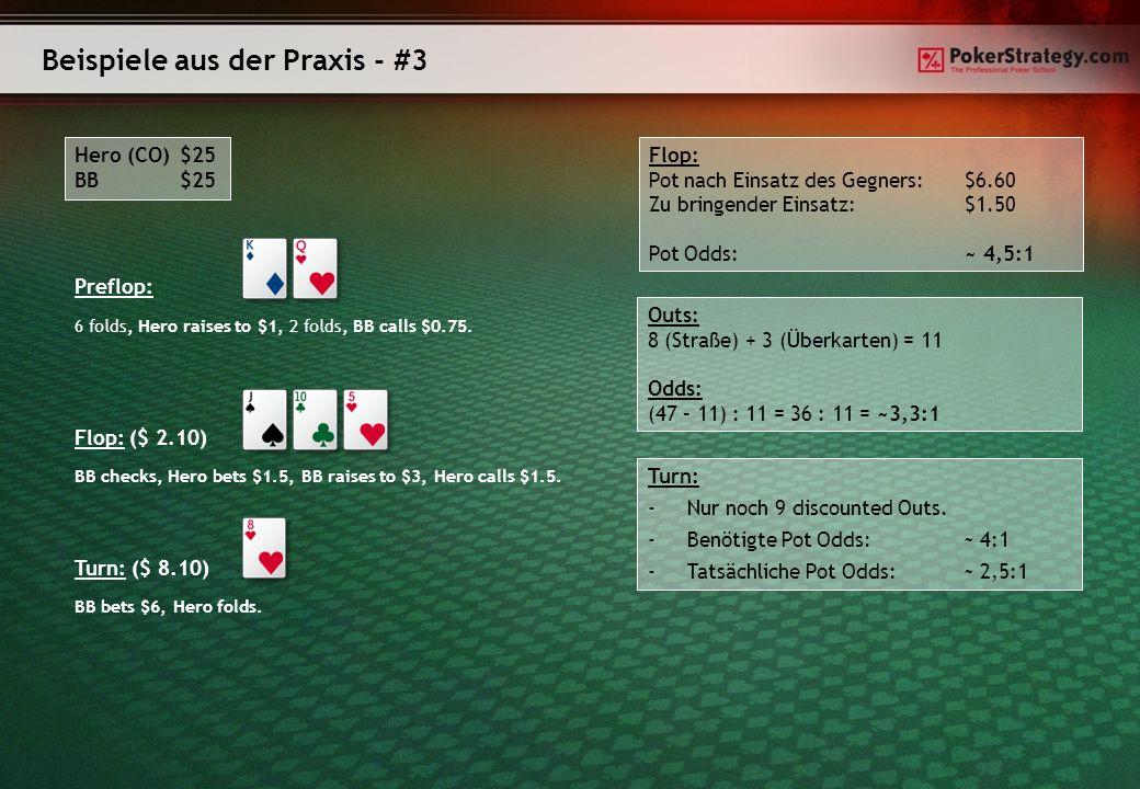 Beispiele aus der Praxis - #3 Hero (CO)$25 BB$25 Preflop: 6 folds, Hero raises to $1, 2 folds, BB calls $0.75. Flop: ($ 2.10) BB checks, Hero bets $1.