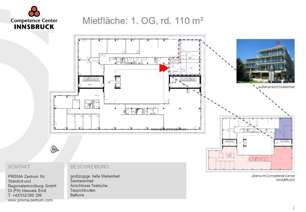 Competence Center INNSBRUCK Grabenweg 3 6020 Innsbruck I Flächeninformationen3 Bau- und Ausstattungsbeschreibung Gaskondensatheizung mit Wärmeverteilung Gebäudekühlung mittels Betonkernaktivierung (Betonmassenkühlsystem) Im Bürobereich Be- und Entlüftungsanlage mit aufgeheizter bzw.