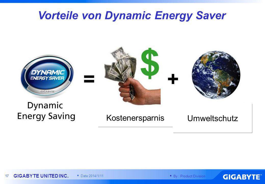 By : Product Division GIGABYTE UNITED INC. 16 ( 38.19-10.755 ) / 38.19 = 70% Einsparung Spannung (V) Strom (A)Leistung (W) X48-DQ611.950.910.775 Kein