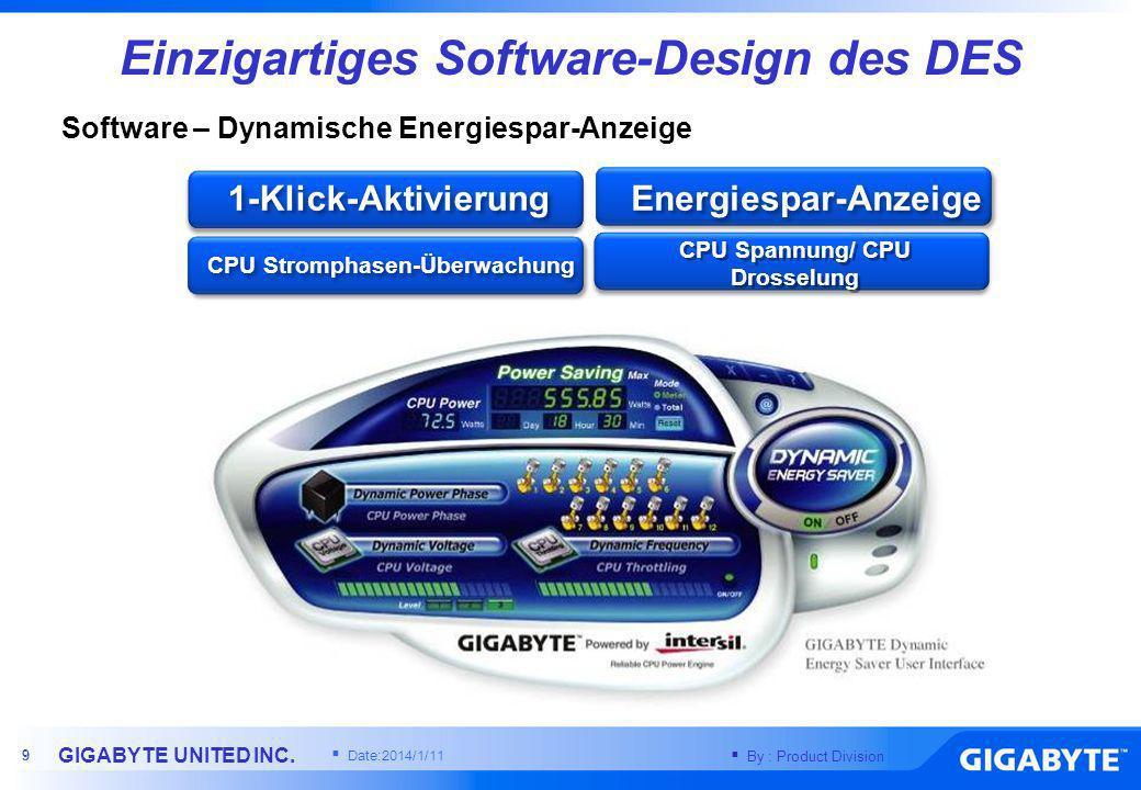 By : Product Division GIGABYTE UNITED INC. 8 8 Systemauslastung Effizienz Alle Stromversorgungs- Phasen sind immer eingeschaltet Traditionelles MB Lei