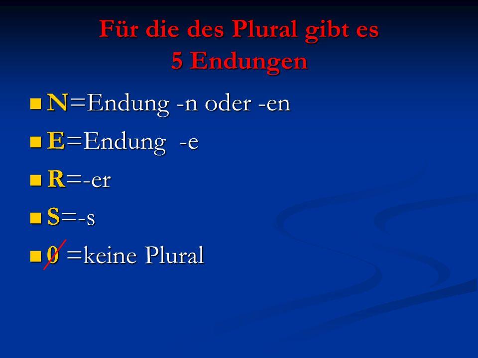 Für die des Plural gibt es 5 Endungen N=Endung -n oder -en N=Endung -n oder -en E=Endung -e E=Endung -e R=-er R=-er S=-s S=-s 0 =keine Plural 0 =keine